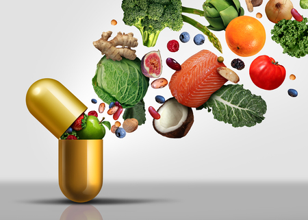 Vitamins supplements as a capsule with fruit vegetables nuts and beans inside a nutrient pill as a natural medicine health treatment with 3D illustration elements.