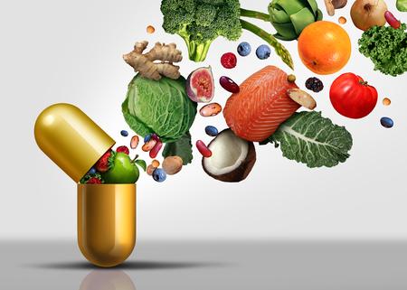Suplementy witaminowe w kapsułce z owocami, warzywami, orzechami i fasolą w pigułce odżywczej jako naturalny zabieg zdrowotny z elementami ilustracji 3D.