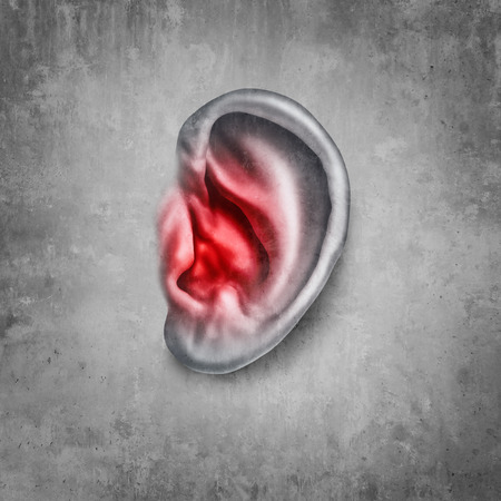 Tinnitus and ringing in the ear as a medical symptom and diagnosis of hearing loss in a 3D illustration style.