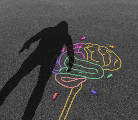 Mental illness violence and violent behavior psychology disorder as the shadow of a troubled angry person or student with chalk drawing of a human brain in a 3D illustration style. Stock Photo