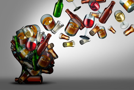 Alcohol education and awareness of the risk or dangers of drink consumption as a 3D illustration. Фото со стока - 96115701