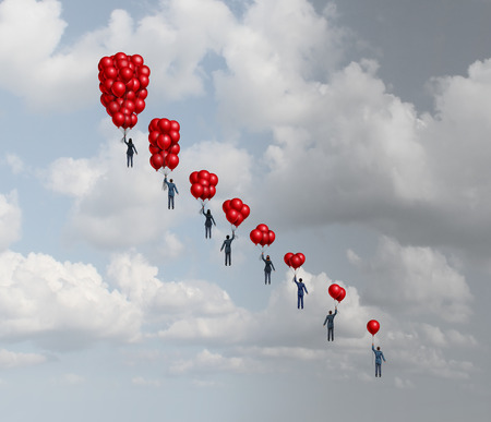 Business decline concept as a group of business people holding gradual decreasing air balloons as a financial decrease metaphor with 3D illustration elements.