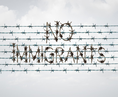 Immigration ban and refugee banned by government policy as extreme vetting of newcomers as a barbed wire fence shaped as text in a 3D illustration style. Stock Photo