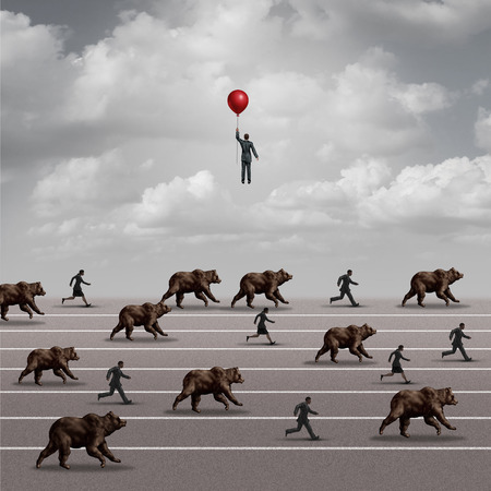 Leaving a declining stock market and divesting the bear market and investing timing concept as an investment strategy with 3D illustration elements. Stock Photo