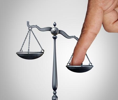 Tip the scales of justice concept as a the finger of a person illegaly influencing the legal system for an unfair advantage with 3D illustration elements. Stock Photo