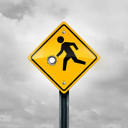 Guns and children and firearms or weapons access and violence on a child as a kid crossing traffic sign with a gunshot hole as a safety and risk symbol as a 3D illustration.
