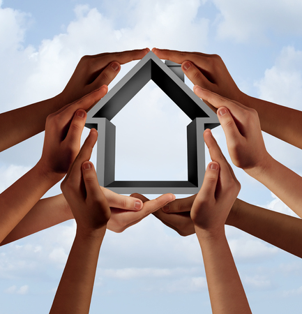 Social housing and affordable community property as a group of diverse hands holding a family house symbol with 3D illustration elements. Stock Photo