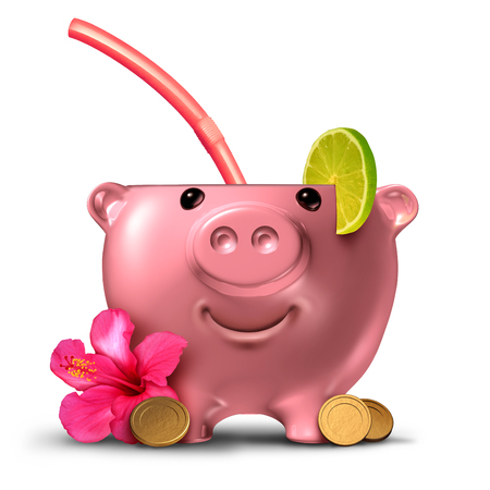 Saving for a vacation and save for a holiday or budget for leisure travel symbol as a piggy bank shaped as an alcoholic drink with 3D illustration elements.