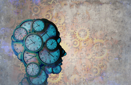 Business and time as a multitasking and work efficient corporate worker concept as an abstract metaphor of a person with gear symbols and clock objects as a 3D illustration.