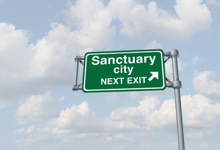 Sanctuary city concept and illegal immigration law government enforcement policies as a highway sign directing to welcoming immigrants with no legal status as a 3D illustration.