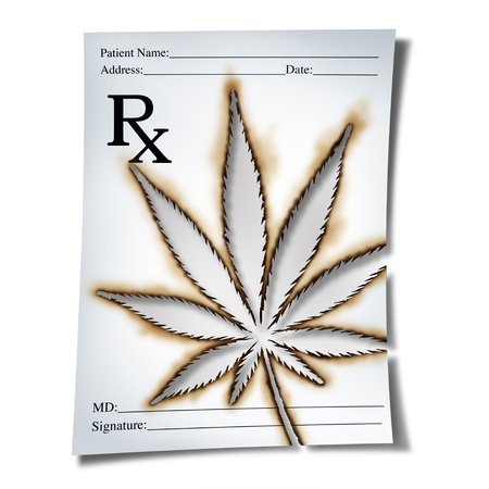 Marijuana medical prescription as cannabis prescribed by a doctor as an rx note with a leaf burnt into the paper as a medicine symbol for legalized weed as a 3D illustration.