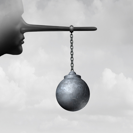 Destructive lies and damaging psychology concept as a person with a long nose that is a lier with a wrecking ball as a metaphor for hurtful behavior with 3D illustration elements.