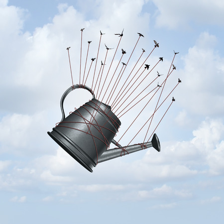 Water conservation scarcity concept and freshwater sustainable resource management concept as a group of birds transporting a water can with 3D illustration elements.