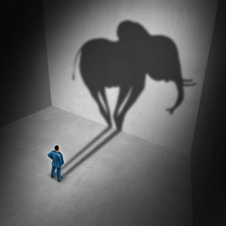 Elephant in the room idiom and metaphor problem concept as a person casting a shadow shaped as a huge mammal as a psychology symbol for repression in a 3D illustration style. Stock Illustration - 96254183