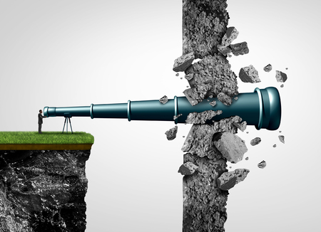 Search breakthrough and successful vision and leadership to find and conquer a strategic mission as a telescope punching through a wall with 3D illustration elements. Stock Photo