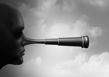 False research and scientific misconduct or conspiracy theory collecting information as a lier nose shaped as a telescope as a surreal idea with 3D illustration elements. Stock Illustration - 97106441
