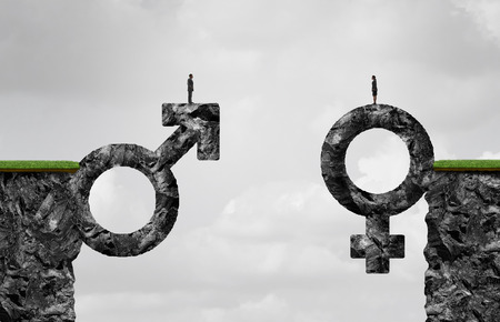 Gender gap idea and sex inequality or equality concept as a male and female symbol shaped into a mountain cliff as a metaphor for pay or wages inequity or divorce in a 3D illustration style.