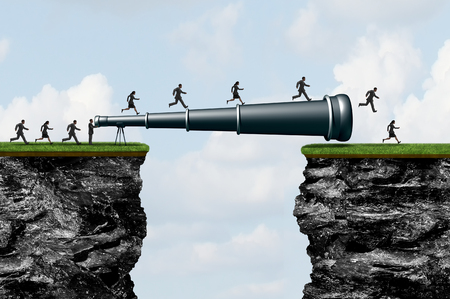 Searching success as a long  telescope creating a bridge for people to cross as a business research or researching visionary idea with 3D illustration elements.