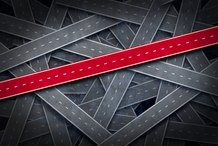 Path to success concept and follow the right path idea as a group of roads and one red pathway as a career or life direction metaphor in a 3D illustration style. Stockfoto