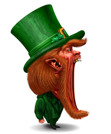 Cartoon Leprechaun St Patricks day character as a traditional green dressed icon as a marketing or promotion on a white background with 3D illustration elements.