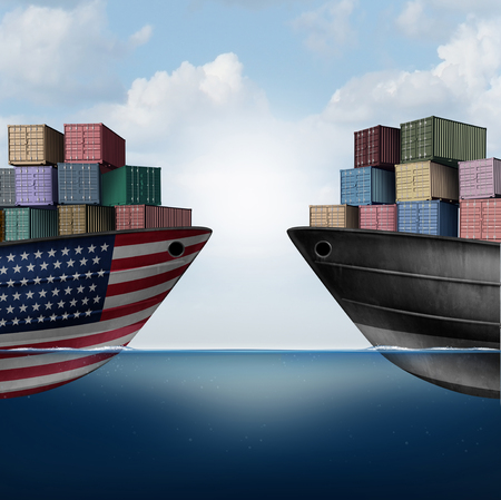 American trade war tariffs in the United states as two opposing cargo ships as an economic  taxation dispute over import and exports concept as a 3D illustration.