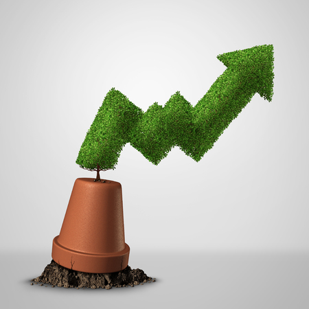 Turning a failing business around and life after bankruptcy and economic recovery financial concept as a renewal finance metaphor with a profit chart tree with 3D illustration elements. Stockfoto