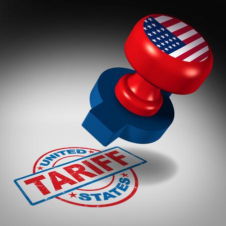 Zölle der Vereinigten Staaten und amerikanischer Handelstarif in den USA als Stempelkennzeichen als wirtschaftliches Import- und Exportsteuer- oder Abgabenkonzept als Illustration 3D.
