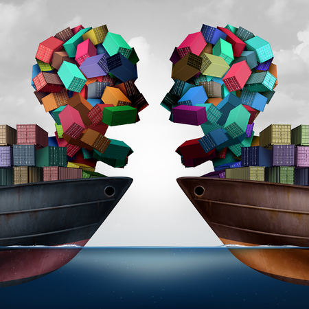 Trade dispute economic challenge business concept as national trade tariff disagreement and export or import duties argument on a cargo ship as a 3D illustration. Stock Photo