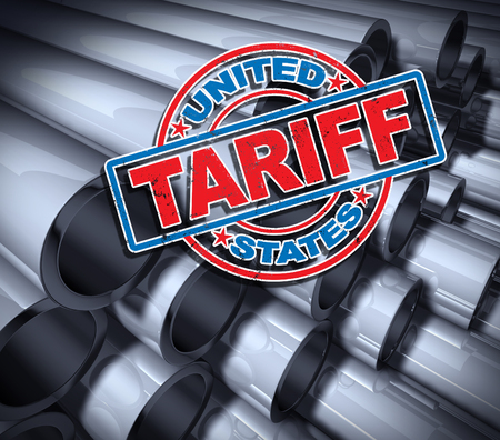 Steel and aluminum tariffs in the United states as a stamp on metal background as an economic trade taxation dispute over import and exports concept as a 3D illustration.
