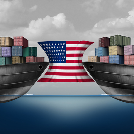 American trade restriction as a tariffs idea in the United states as two opposing cargo ships stopped by a flag over import and export duties concept as a 3D illustration.
