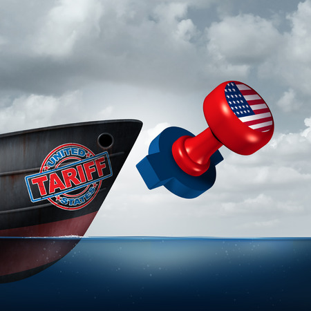 American trade tariff as steel and aluminum tariffs in the United states as a stamp on a cargo ship as an economic import and exports tax concept as a 3D illustration.