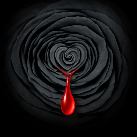 Crime of passion and tragic sadness caused by extreme emotional feelings as a black rose bleeding blood in a 3D illustration style.