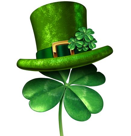 Happy St Patricks Day March celebration symbol with green shamrocks isolated on a white background