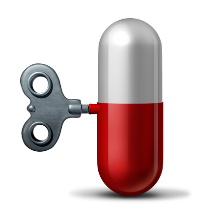 Pharmaceutical and pharmacy industry symbol as a winding key on a medication pill and capsule as a 3D illustration. Фото со стока