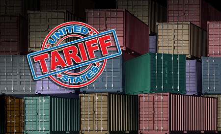 United States tariff as a stamp on imported cargo freight background as an economic trade taxation dispute over international import and exports concept as a 3D illustration. Stock Photo