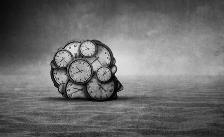 Sands of time and abstract aging idea as a head made od old clocks shaped as a human head in a barren desert with 3D illustration elements.