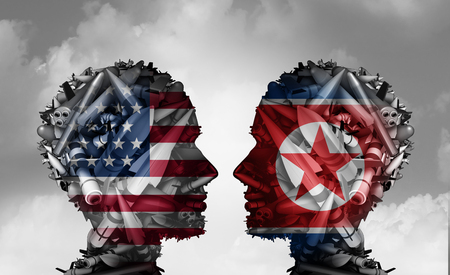 North Korea and United States talks facing nuclear tensions as a meeting with two groups of bombs and missiles shaped as a human head as a 3D illustration.