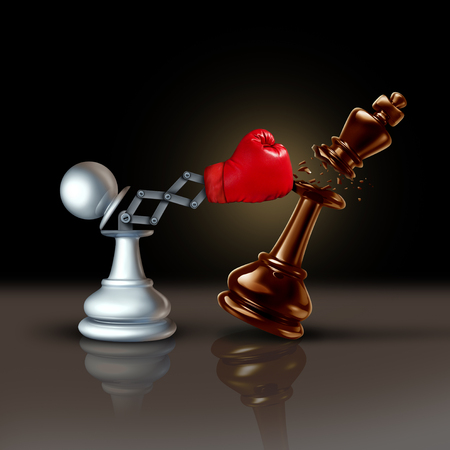 Knock out business concept or knocking and punching symbol as a secret weapon with a chess pawn beating the king piece with a hidden red boxing glove as a 3D illustration. Stock Photo