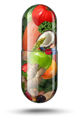 Nutrition supplements as a vitamin capsule with fruit vegetables nuts and beans inside a nutrient pill as a natural medicine health treatment with 3D illustration elements.