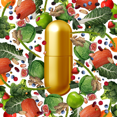 Vitamin supplement and food nutrition pill as a natural nutrient pill with vegetables fruit nuts and beans inside a pharmaceutical capsule with 3D illustration elements.