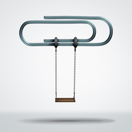 Work and play balance as a balanced life concept between working and taking a vacation or relax as a 3D illustration.