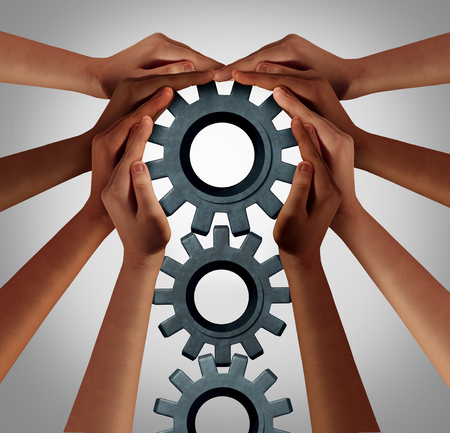Industry union and business collaboration concept as a team of diverse people turning a group of gears as company workers idea with 3D illustration elements.