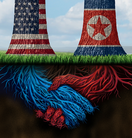 Usa North Korea agreement and American and North Korean diplomacy between pyongyang and washington as tree roots connecting together with 3D illustration elements. Фото со стока