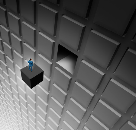 Manager skills business management success concept as a businessman on an abstract cube completing a puzzle as a corporate efficiency idea with 3D illustration elements.