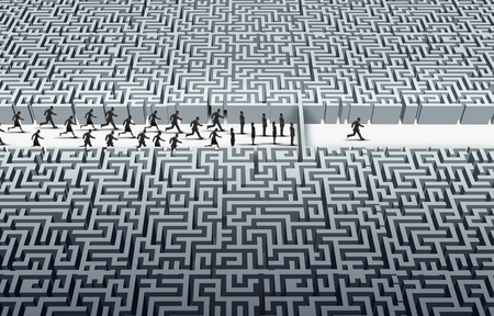 Challenge leadership as a businessman navigating through a maze as a business success idea with 3D illustration elements. Stock Photo