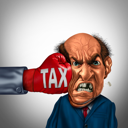 Painful tax and financial blow concept as a fist punching a taxpayer or businessman as an economic symbol for taxation stress with 3D illustration elements. Stock Photo