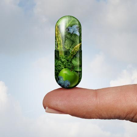 Gesundheitsvitamin und Nahrungsergänzungsmittel als Alternativmedizin- und Naturheilkunde- oder Homöopathiesymbol als Finger, der eine gree Pille mit Elementen der Illustration 3D hält.
