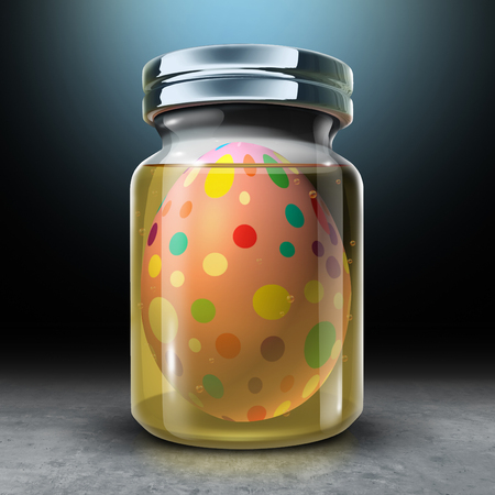 Preserving traditions concept as a preserve bottle with a traditional easter egg conserving culture and ritual as a 3D illustration. Stock Photo