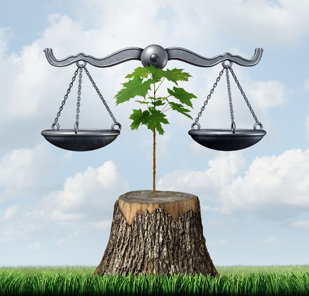 Environment law and nature resources legal action concept as a justice scale supported by a sapling on a chopped tree as a protection of habitat and ecology with 3D illustration elements.