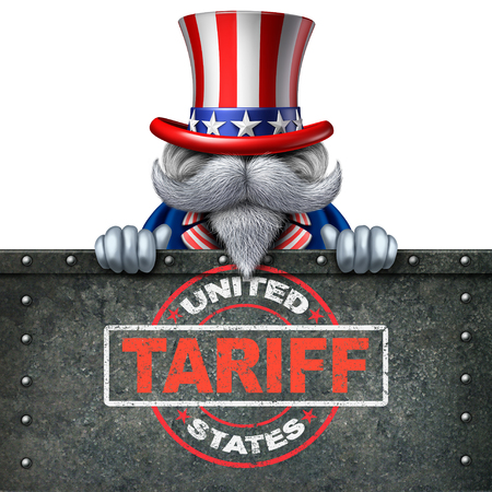 Tariffs United States for steel and aluminum as a stamp on metal background as an economic trade taxation dispute over import and exports with 3D illustration elements. Standard-Bild